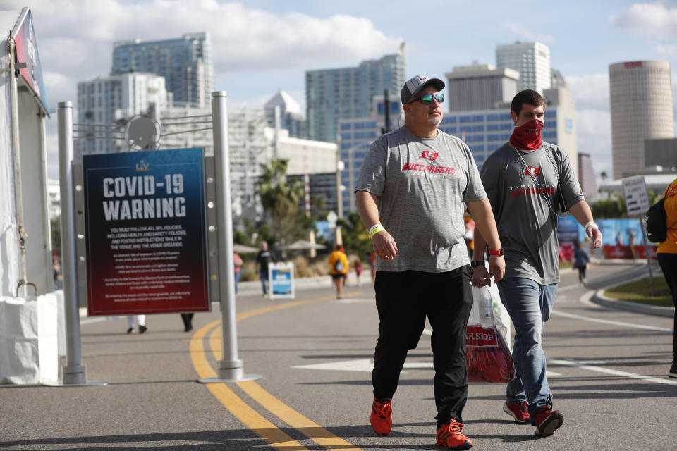TAMPA, FL - JANUARY 30: National Football League fans convene in downtown Tampa ahead of Super Bowl LV during the COVID-19 pandemic on January 30, 2021 in Tampa, Florida. The Tampa Bay Buccaneers will play the Kansas City Chiefs in Raymond James Stadium for Super Bowl LV on February 7. (Photo by Octavio Jones/Getty Images)