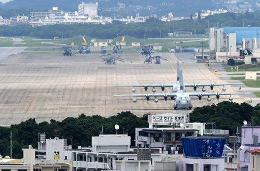 US Marine Corps Air Station Futenma base in Ginowan, Okinawa prefecture