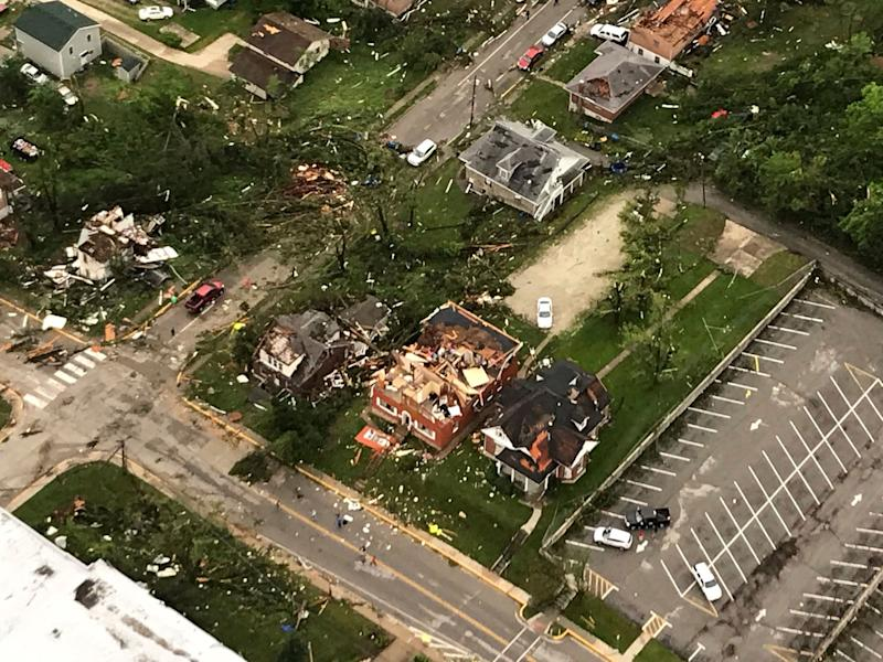 "In this frame grab from KTVI-TV video, tornado damage can be seen in Jefferson City, Mo., Thursday, May 23, 2019, after a tornado hit overnight. Missouri Gov. Mike Parson surveyed the hardest hit areas in Jefferson City on Thursday and called the damage ""devastating."" (Photo: KTVI-TV via AP)"