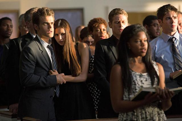 "Paul Wesley as Stefan, Nina Dobrev as Elena, Zach Roerig as Matt, and Steven R. McQueen as Jeremy Gilbert in ""Memorial,"" the second episode of ""The Vampire Diaries"" Season 4."