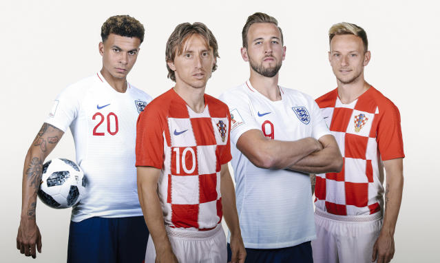 England's Dele Alli and Harry Kane, alongside Croatia's Luca Modric and Ivan Rakitic, will be four of the key players in the semi final. (FIFA/Getty)