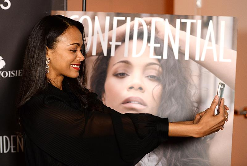 "<p>The <i>Avatar</i> star made sure to selfie with her massive <i>Los Angeles Confidential</i> cover at a bash the magazine held in her honor. Coincidentally, Saldana was keeping something confidential at the party: She and her husband recently <a rel=""nofollow"" href=""https://www.yahoo.com/celebrity/zo-saldana-welcomes-third-child-172550250.html"">welcomed their third son</a>, Zen. (Photo: Amanda Edwards/WireImage) </p>"