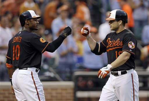 Baltimore Orioles' Adam Jones, left, greets teammate Chris Davis at home plate after Davis batted Jones in on a home run in the second inning of a baseball game against the Toronto Blue Jays, Friday, July 12, 2013, in Baltimore. (AP Photo/Patrick Semansky)