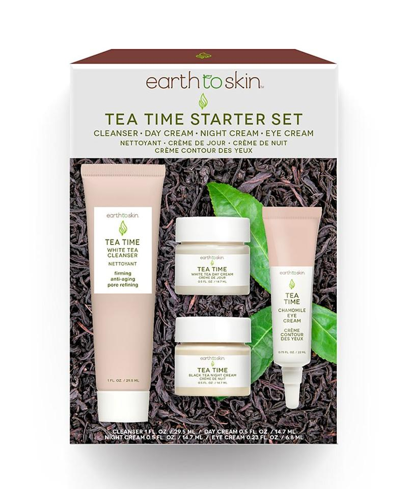 """<p><a href=""""https://www.realsimple.com/beauty-fashion/best-anti-aging-products-amazon"""">Anti-aging beauty products</a> tend to be some of the most expensive items in your skincare routine, but this set of four travel-sized products allows you to test out pore-refining, tea-infused products—including a cleanser, day cream, night cream, and an eye cream—for a fraction of the price.</p> <p><strong>To buy:</strong> $10; <a href=""""http://goto.walmart.com/c/249354/565706/9383?subId1=MeredithETSDedicatedContent1RSMAlcedo&veh=aff&sourceid=imp_000011112222333344&u=https%3A%2F%2Fwww.walmart.com%2Fip%2FEarth-to-Skin-Tea-Time-Anti-Aging-Starter-Set-2-25-oz%2F689084964"""" target=""""_blank"""">walmart.com</a>. </p>"""