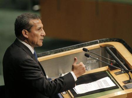 Peruvian President Ollanta Humala delivers his remarks during the opening ceremony of the Paris Agreement signing ceremony on climate change at the United Nations Headquarters in Manhattan, New York, U.S., April 22, 2016. REUTERS/Brendan McDermid