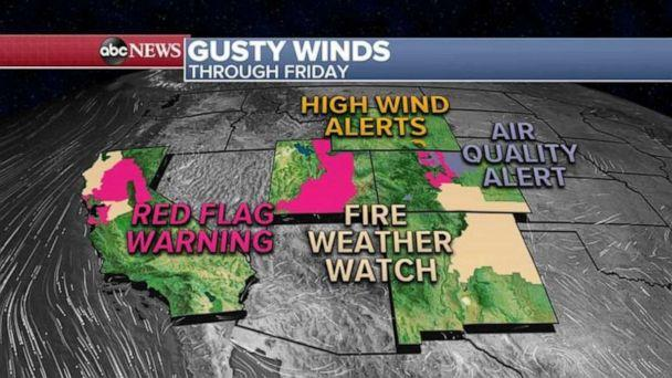 PHOTO: Winds gusts over the next few days could reach near 40 mph in Northern California and 40 to 50 mph from Utah to Colorado and fire danger will be critical from Northern California to New Mexico. (ABC News)