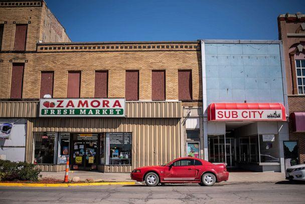 PHOTO: Zamora Fresh Market in Marshalltown, Iowa, Aug. 7, 2019, was damaged after a tornado hit downtown in 2018 and forced many businesses to close or rebuild. (Sergio Flores for ABC News)