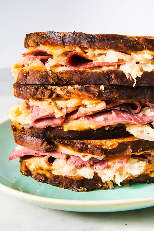 "<p>A good Reuben should be loaded and this one definitely is.</p><p>Get the recipe from <a href=""https://www.delish.com/cooking/recipe-ideas/a23872214/classic-reuben-sandwich-recipe/"" target=""_blank"">Delish</a>. </p>"