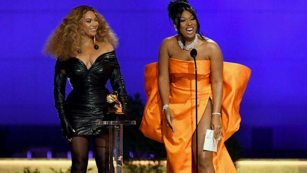 PHOTO: Beyonce and Megan Thee Stallion accept the Best Rap Performance award for 'Savage' onstage during the 63rd Annual GRAMMY Awards at Los Angeles Convention Center, March 14, 2021 in Los Angeles. (Kevin Winter/Getty Images)