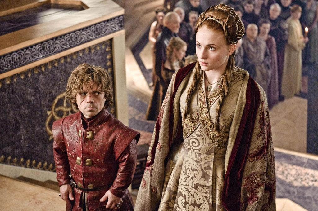 "Peter Dinklage and Sophie Turner in the ""Game of Thrones"" episode, ""Second Sons."""