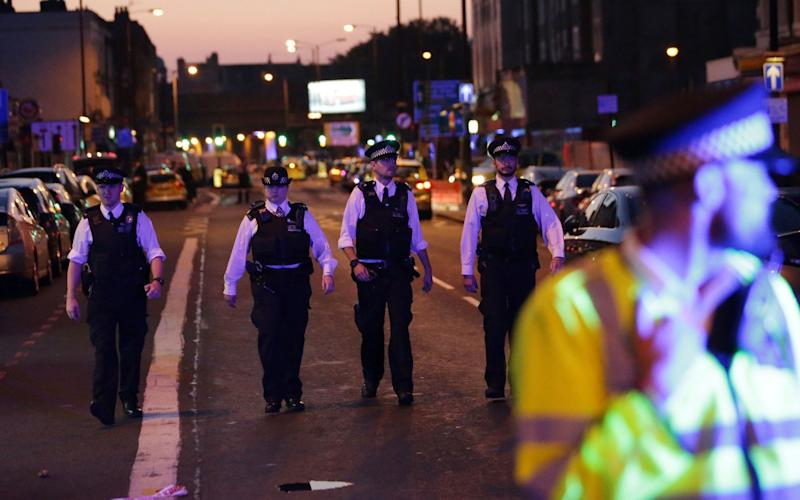 Police patrol the Finsbury Park area of north London - Credit: AFP