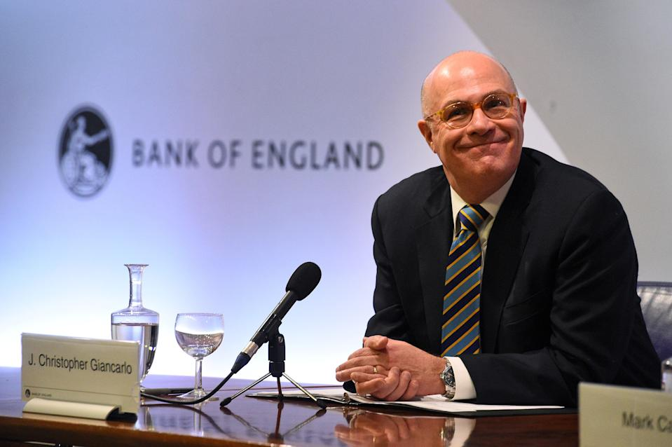 Chair of the US Commodity Futures Trading Commission, J. Christopher Giancarlo attends a press conference at the Bank of England in London on February 25, 2019. - Britain and the United agreed Monday to maintain how multi-trillion dollar financial transactions are carried out between the two countries after Brexit, aiming to avoid market uncertainty when the UK leaves the EU. The UK and US carry out trades of derivatives -- securities whose value is based on an asset such as currencies, stocks and commodities -- worth a combined $2.4 trillion daily, Bank of England governor Mark Carney told a press conference in London. (Photo by Kirsty O'Connor / POOL / AFP)        (Photo credit should read KIRSTY O'CONNOR/AFP via Getty Images)
