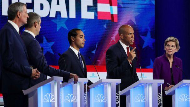 PHOTO: 2020 democratic presidential candidates participate in the first Democratic primary debate hosted by NBC News at the Adrienne Arsht Center for the Performing Arts in Miami, Florida, June 26, 2019. (Joe Raedle/Getty Images)