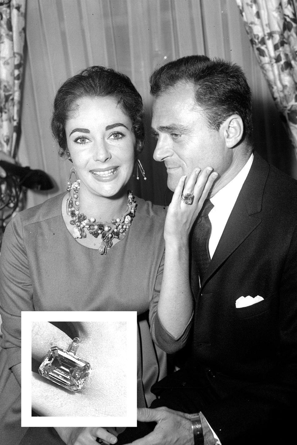 """<p>In 1957, <a href=""""https://www.townandcountrymag.com/leisure/g2117/rare-photos-elizabeth-taylor/"""" rel=""""nofollow noopener"""" target=""""_blank"""" data-ylk=""""slk:Taylor married her third husband"""" class=""""link rapid-noclick-resp"""">Taylor married her third husband</a>, theater and film producer Mike Todd. Todd proposed with a whopping 29.4 carat emerald-cut diamond ring, a stone so large that Taylor referred to it as her """"ice skating rink,"""" <a href=""""https://go.redirectingat.com?id=74968X1596630&url=https%3A%2F%2Fwww.theknot.com%2Fcontent%2Fcelebrity-trendsetting-engagement-rings&sref=https%3A%2F%2Fwww.townandcountrymag.com%2Fstyle%2Fjewelry-and-watches%2Fg15338229%2Fbest-celebrity-engagement-rings%2F"""" rel=""""nofollow noopener"""" target=""""_blank"""" data-ylk=""""slk:The Knot reports."""" class=""""link rapid-noclick-resp""""><em>The Knot </em>reports.</a> It was sold at auction in 2011 for $3.7 million, <a href=""""https://www.vogue.com/article/best-celebrity-engagement-rings-kim-kardashian-kate-middleton"""" rel=""""nofollow noopener"""" target=""""_blank"""" data-ylk=""""slk:according to Vogue."""" class=""""link rapid-noclick-resp"""">according to <em>Vogue.</em></a><br></p>"""