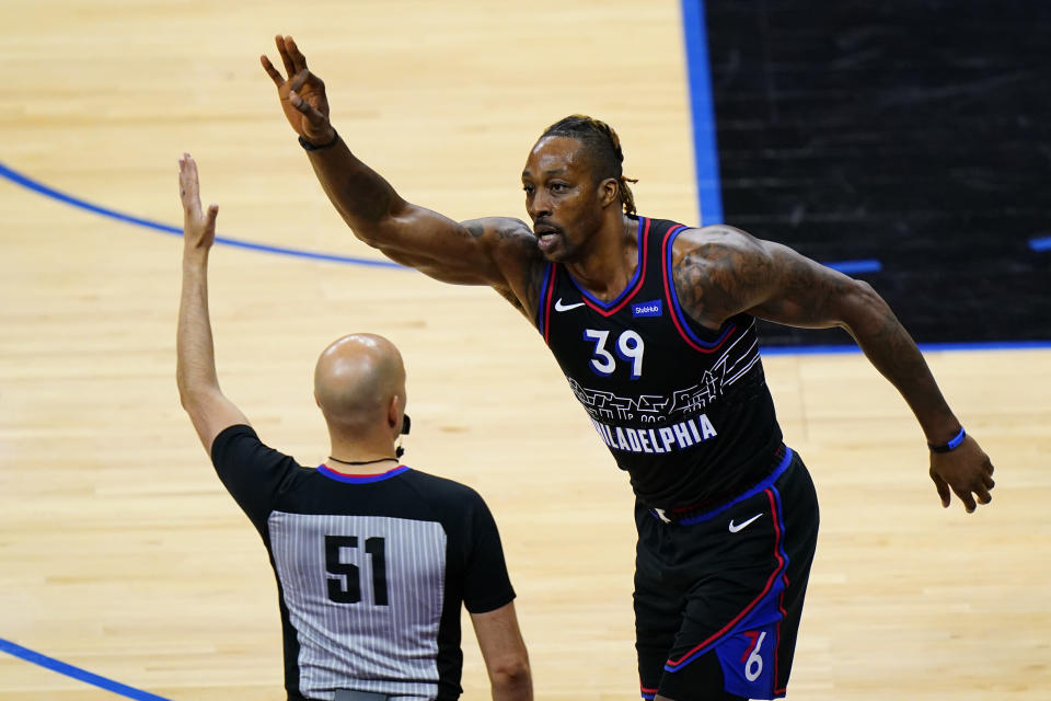 Philadelphia 76ers' Dwight Howard (39) reacts after making a three-pointer during the second half of an NBA basketball game against the Detroit Pistons, Saturday, May 8, 2021, in Philadelphia. (AP Photo/Matt Slocum)