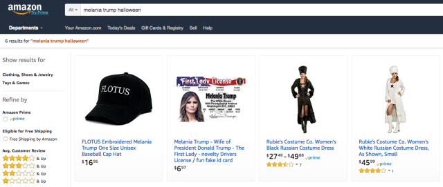 "Amazon results for ""Melania Trump Halloween costume."" (Photo: Amazon)"