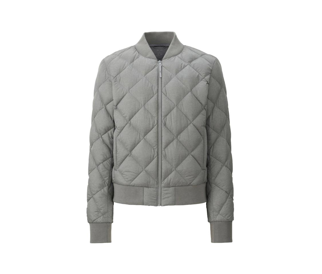 """<p>Sometimes you want an outer layer that doesn't completely steamroll the rest of your look. Super sleek and cozy in a bomber silhouette, this neutral gray option is just one of the five outfit-friendly hues this jacket is offered in.<br /><br />$69, <a rel=""""nofollow"""" href=""""https://www.uniqlo.com/us/en/women-ultra-light-down-ribbed-blouson-190375.html?dwvar_190375_color=COL13#start=8&cgid=women-outerwear-and-blazers"""">uniqlo.com</a> </p>"""