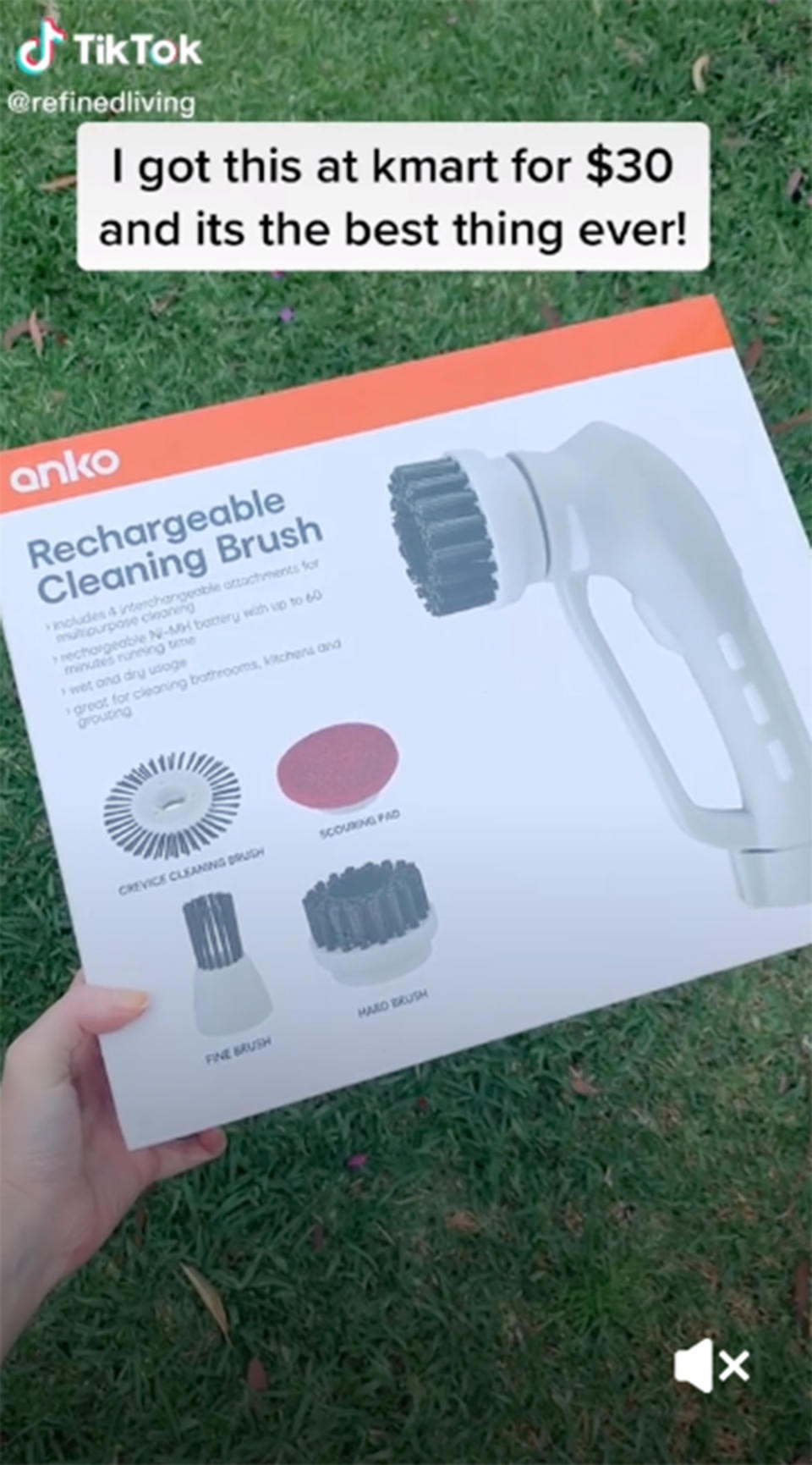 Kmart's 'Rechargeable Cleaning Brush' packaging