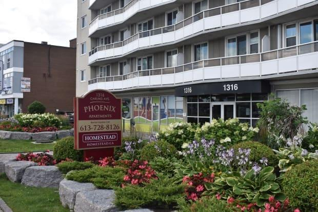 Tenants of the Phoenix Apartments building at 1316 Carling Ave. complained to the Ontario Landlord and Tenant Board saying management never shared that several bikes were stolen from the building bike room. (Ben Andrews - image credit)