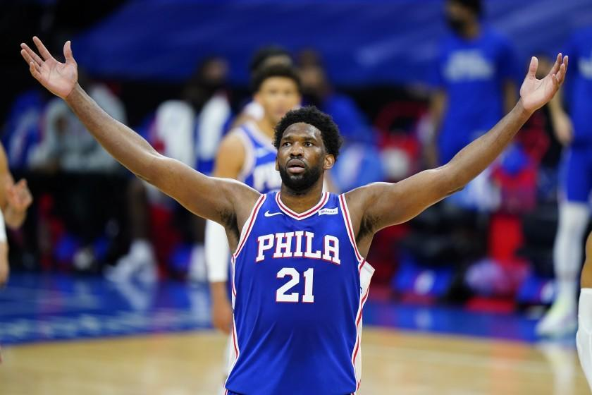 The 76ers' Joel Embiid celebrates his 50-point performance game against the Bulls on Feb. 19, 2021, in Philadelphia.