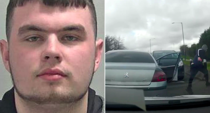 Callum Taylor sped off after officers spotted his silver Peugeot and tried to carry out a routine stop. (SWNS)