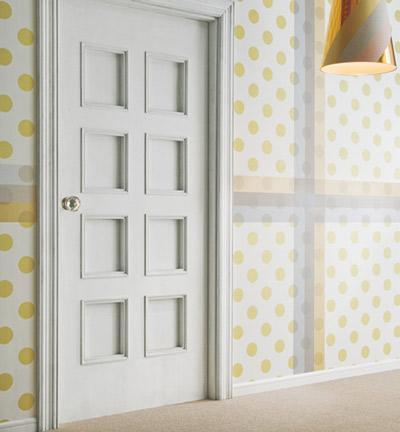 """<div class=""""caption-credit""""> Photo by: Design Crush</div><div class=""""caption-title"""">Polka Dots + Plaid</div>This design takes polka dots up a notch with a plaid pairing. This chic look would be a great design for a hallway, home entrance or dining room! <br>"""