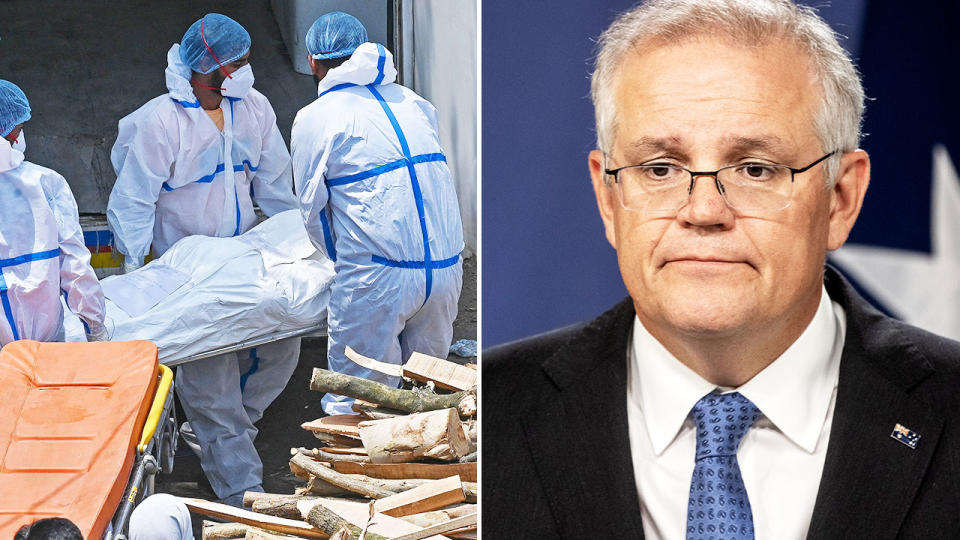 Scott Morrison, pictured here talking to the media in Canberra.