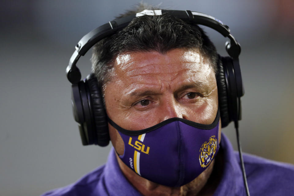 LSU head coach Ed Orgeron talks to members of the media after an NCAA college football game against South Carolina in Baton Rouge, La. Saturday, Oct. 24, 2020. (AP Photo/Brett Duke)