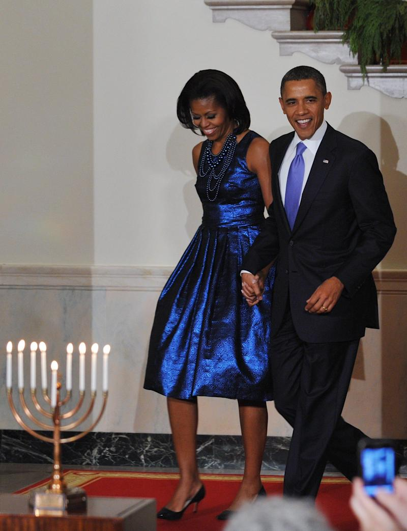 For a Hanukkah reception in 2011, the former first lady rocked this metallic blue frock by Rodarte.