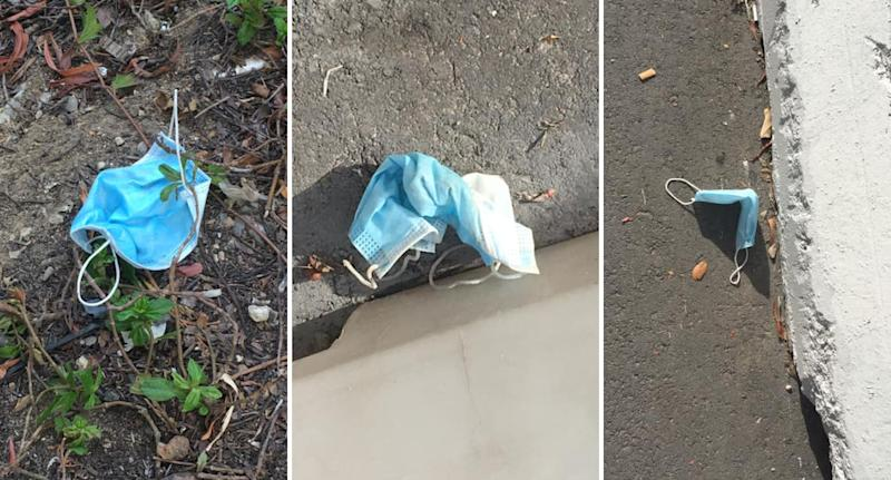 Three photos of face masks discarded on the footpath in Singapore.