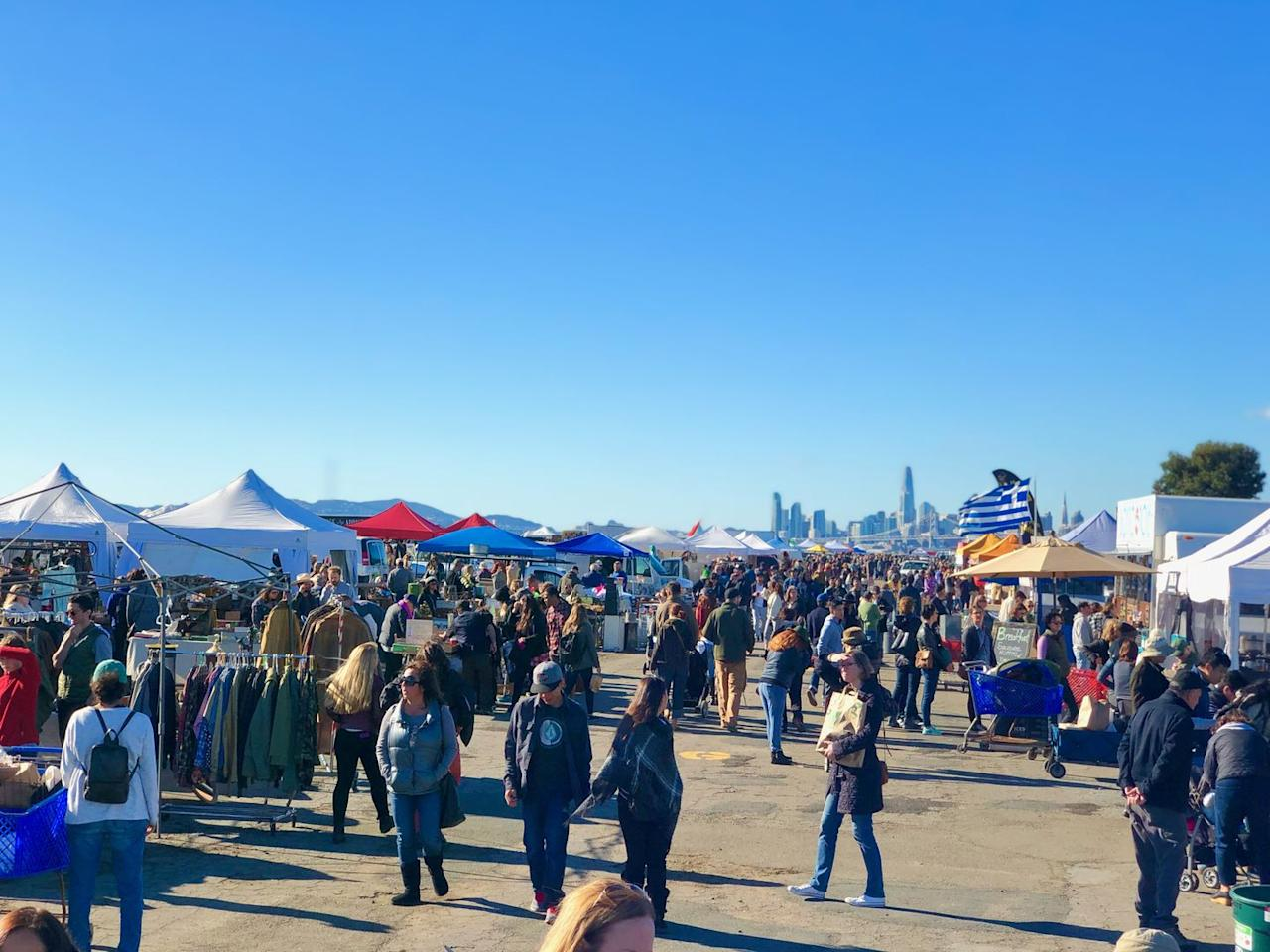 """<p>Visiting the Bay Area? Head over to the <a href=""""https://alamedapointantiquesfaire.com/"""" target=""""_blank"""">Alameda Point Antiques Faire.</a> Every Sunday, over 800 vendors set up their booths on a former jet runway, which offers an impressive view of the San Francisco skyline. As the largest outdoor market in Northern California, the Alameda Point Antiques Faire sells everything from ceramics and glassware, to holiday decor, to lighting. If you want to fill your closet with some vintage wares, check out the community's biannual Alameda Vintage Fashion Faire, which sells clothes from each decade.</p>"""