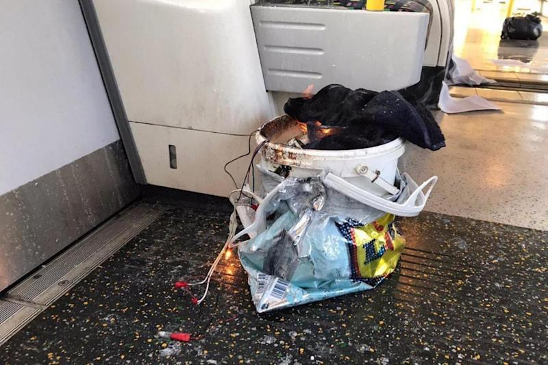 The bucket believed to have caused the explosion at Parsons Green