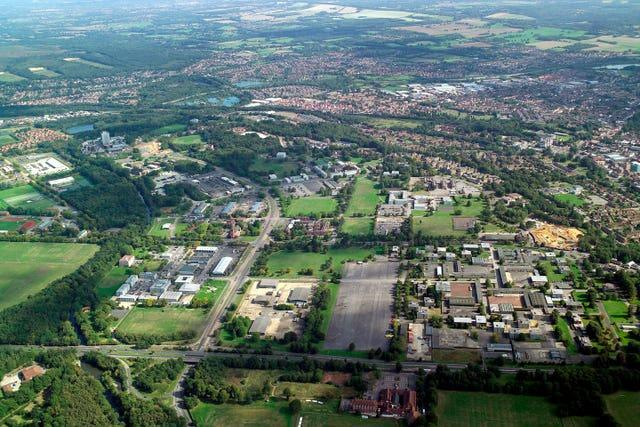 An undated aerial view of Aldershot in Hampshire, home to several regiments of the British Army. (Drivers Jonas Deloitte/PA)