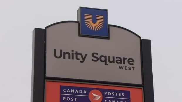 The central Edmonton retail hub along 104th Avenue will now be known as Unity Square, with signage having already been replaced this weekend. (John Shyptika/CBC - image credit)
