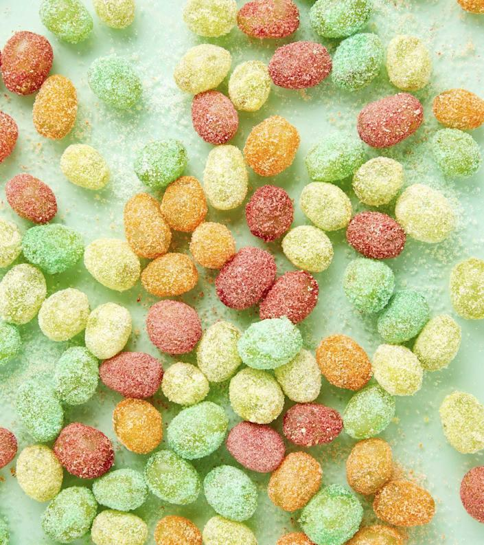 """<p>Sour Patch Grapes, or Glitter Grapes, <a href=""""https://www.delish.com/cooking/videos/a51386/how-to-make-sour-patch-grapes-video/"""" rel=""""nofollow noopener"""" target=""""_blank"""" data-ylk=""""slk:have been a blogger favorite for years"""" class=""""link rapid-noclick-resp"""">have been a blogger favorite for years</a>, and it's long time you tried the treat firsthand.</p><p>Get the recipe from <a href=""""https://www.delish.com/cooking/recipes/a51388/sour-patch-grapes-recipe/"""" rel=""""nofollow noopener"""" target=""""_blank"""" data-ylk=""""slk:Delish"""" class=""""link rapid-noclick-resp"""">Delish</a>.</p>"""