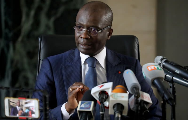 Public Prosecutor Adou Richard speaks during a news conference in Abidjan
