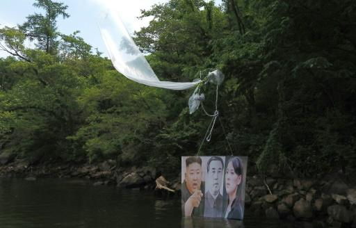 A balloon carrying a banner with portraits of North Korean leader Kim Jong Un (L), the late leader Kim Il Sung (C) and Kim Yo Jong, sister of Kim Jong Un, is caught on a tree after being launched by activists in Hongcheon