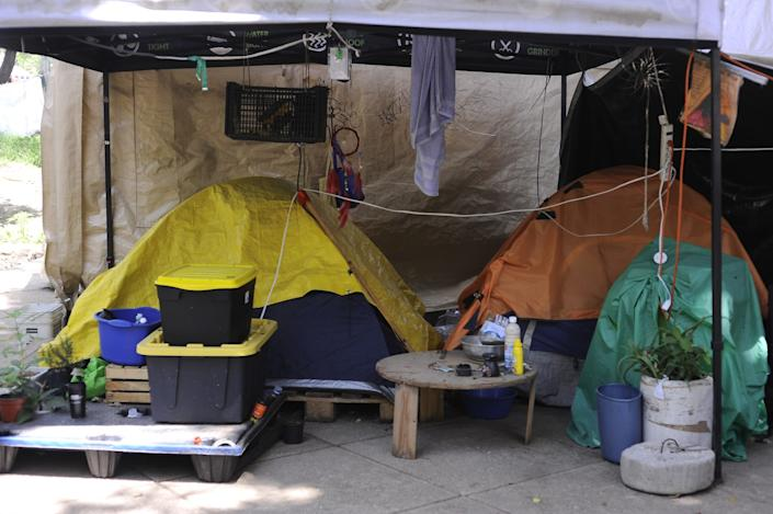 A camp outside Mexico's Senate building.