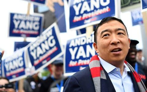 <span>Andrew Yang has pledged an annual universal basic income</span> <span>Credit: REUTERS/Gretchen Ertl </span>