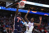 <p>Jared Harper #1 of the Auburn Tigers dunks the ball against the Kansas Jayhawks during their game in the Second Round of the NCAA Basketball Tournament at Vivint Smart Home Arena on March 23, 2019 in Salt Lake City, Utah. (Photo by Tom Pennington/Getty Images) </p>