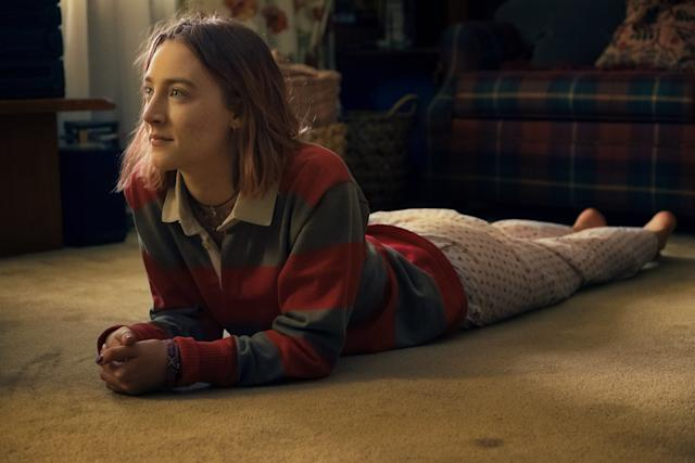 """A nice <span>coming-of-agestory</span> that doesn't strive to reinvent the wheel may not seem like the most obvious Oscar play, but the praise surrounding """"Lady Bird"""" has been so unanimously fawning that A24 would be wise tothrust most of its awards zestin this movie's corner. At 13, Saoirse Ronan earned an Oscar nodfor her first significant role (""""Atonement""""); at 21, she collected another for her swoony starring vehicle, """"Brooklyn."""" If """"Lady Bird"""" nets her third, she'll beone of the youngest women ever nominated for three Oscars. That delightful Irish lilt has a magical effect."""