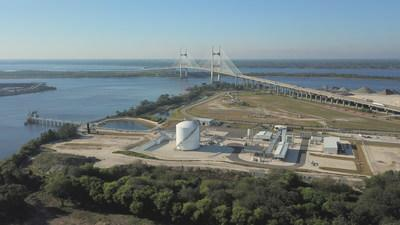 Aerial view of the JAX LNG facility located near Dames Point, Jacksonville, FL.