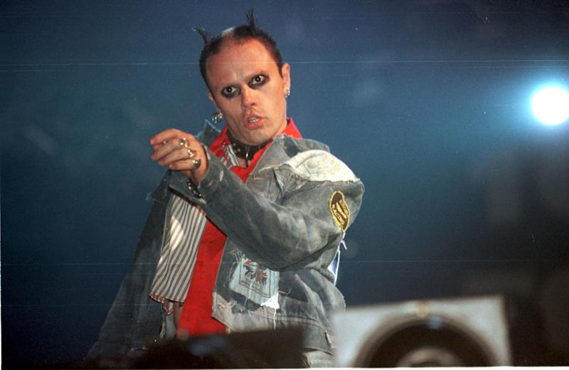 Keith Flint of the band Prodigy performing at this year's Glastonbury Music Festival in Somerset today (Saturday). Photo Martin Bennett. See PA story SOCIAL Festival.