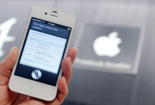 "<p>The ""Siri"" digital personal assistant is displayed on an Apple iPhone 4S in Taipei on July 30, 2012. A case against Apple brought by a Chinese firm for alleged patent infringement in its digital personal assistant ""Siri"" has begun in a Shanghai court, state media said Wednesday.</p>"