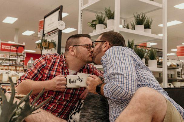 PHOTO: Aaron Damron and Tony DiPasqua had a Target-themed engagement shoot. (Erica Whiting Photography)