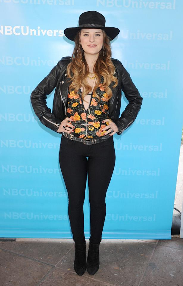 """Juliet Simms (""""<a href=""""http://tv.yahoo.com/voice/show/47012"""">The Voice</a>"""") arrives at NBC Universal's 2012 Summer Press Day at The Langham  Huntington Hotel and Spa on April 18, 2012 in Pasadena, California."""
