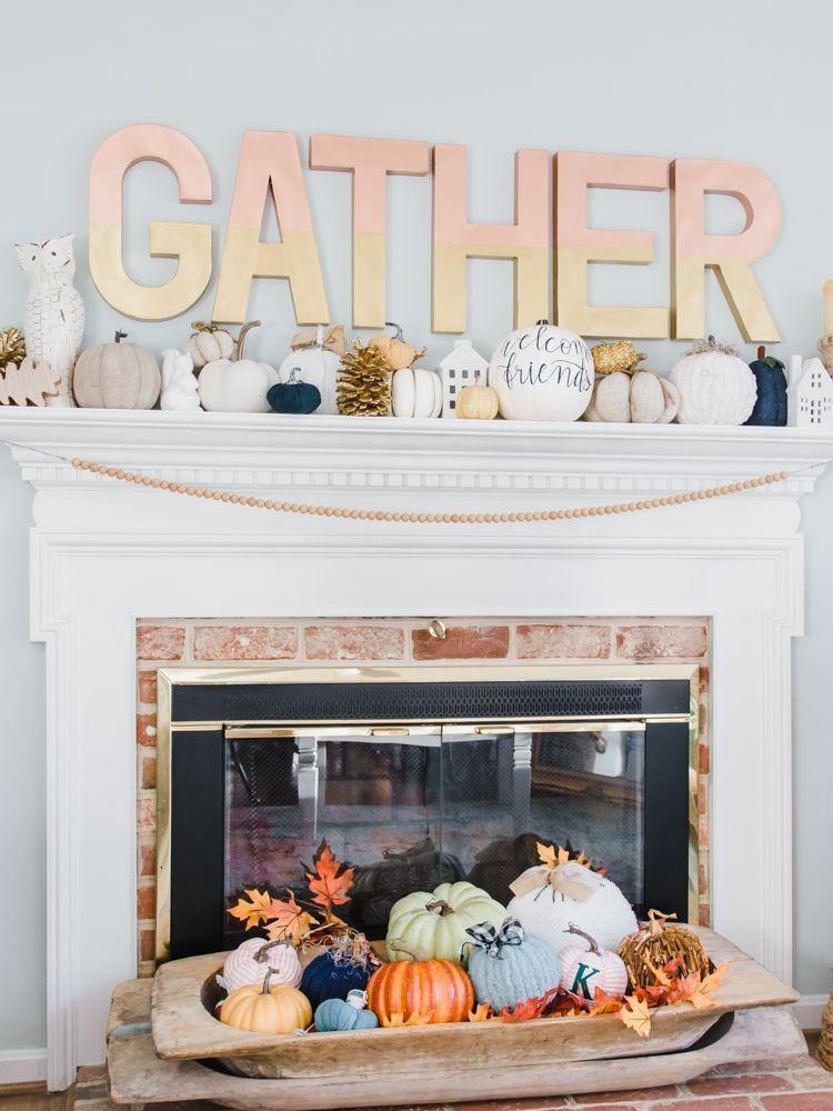 """<p>Fall is the perfect time for indoor, cozy gatherings, which is why these """"gather"""" letters over the fireplace are spot-on. They'll also look great as part of your <a href=""""https://www.thepioneerwoman.com/holidays-celebrations/g33545117/thanksgiving-decorations/"""" rel=""""nofollow noopener"""" target=""""_blank"""" data-ylk=""""slk:Thanksgiving décor"""" class=""""link rapid-noclick-resp"""">Thanksgiving décor</a>. </p><p><strong>Get the tutorial at <a href=""""https://thekingstonhome.com/blog/diy-large-letters-for-your-home-decor/"""" rel=""""nofollow noopener"""" target=""""_blank"""" data-ylk=""""slk:The Kingston Home"""" class=""""link rapid-noclick-resp"""">The Kingston Home</a>.</strong></p><p><a class=""""link rapid-noclick-resp"""" href=""""https://go.redirectingat.com?id=74968X1596630&url=https%3A%2F%2Fwww.walmart.com%2Fip%2FScotch-Expressions-Washi-Tape-Black-59-x-393-1-Roll%2F32649604&sref=https%3A%2F%2Fwww.thepioneerwoman.com%2Fhome-lifestyle%2Fcrafts-diy%2Fg36891743%2Ffall-mantel-decorations%2F"""" rel=""""nofollow noopener"""" target=""""_blank"""" data-ylk=""""slk:SHOP WASHI TAPE"""">SHOP WASHI TAPE</a></p>"""
