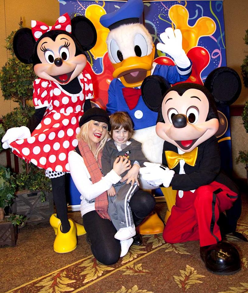 "Christina Aguilera's son Max turned 3 on Wednesday, but the pop star kicked off celebrations a day early with a trip to Disneyland, where the lucky little cutie got to hang out with Mickey Mouse, Minnie Mouse, and Donald Duck. Handout/<a href=""http://www.gettyimages.com/"" target=""new"">GettyImages.com</a> - January 11, 2011"