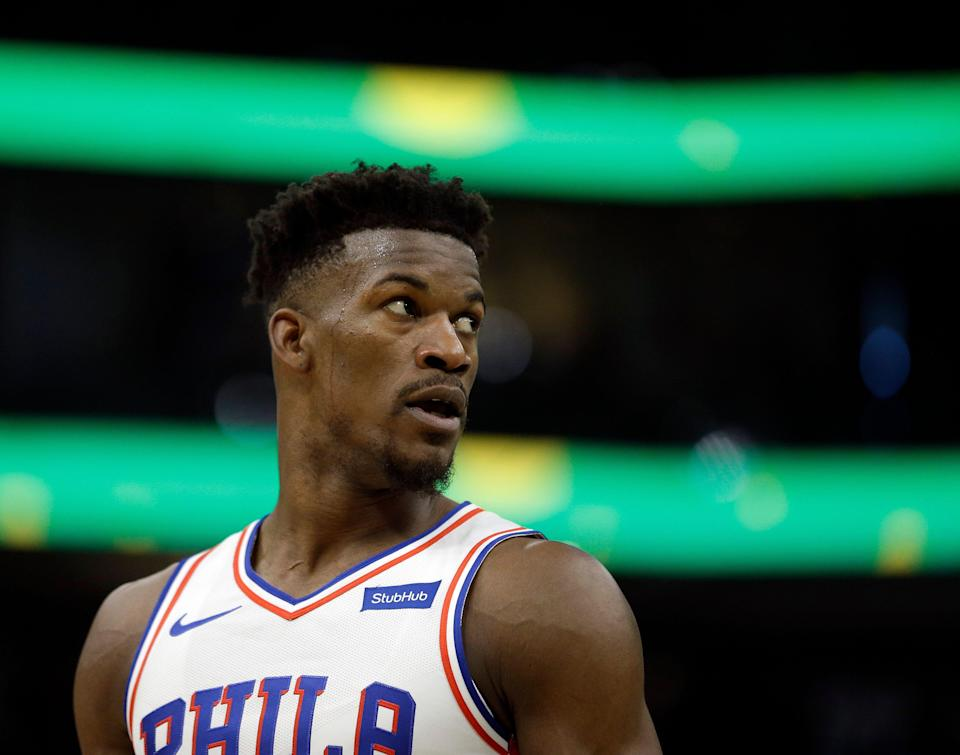 Philadelphia 76ers' Jimmy Butler during the second half of an NBA basketball game against the Milwaukee Bucks Sunday, March 17, 2019, in Milwaukee. The 76ers won 130-125. (AP Photo/Aaron Gash)