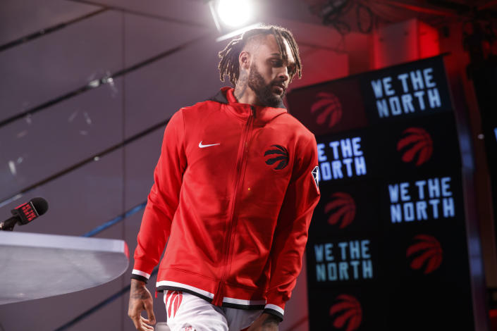 Toronto Raptors' Gary Trent Jr. leaves a press conference at Scotiabank Arena during the NBA basketball team's Media Day in Toronto, Monday, Sept. 27, 2021. (Cole Burston/The Canadian Press via AP)